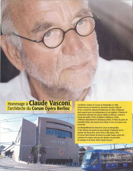 Media hommage claude vasconi l 39 architecte du corum for Claude vasconi architecte